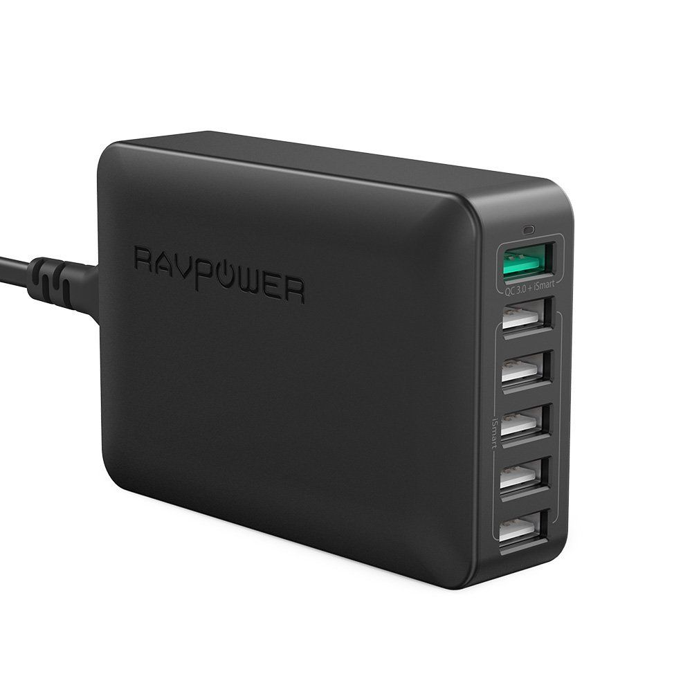 RP-PC029 Caricatore Quick Charge 3.0 da Tavolo con 6 Porte (Nero)